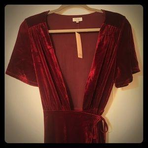 Red Velvet Floor Length Wrap Dress Gown